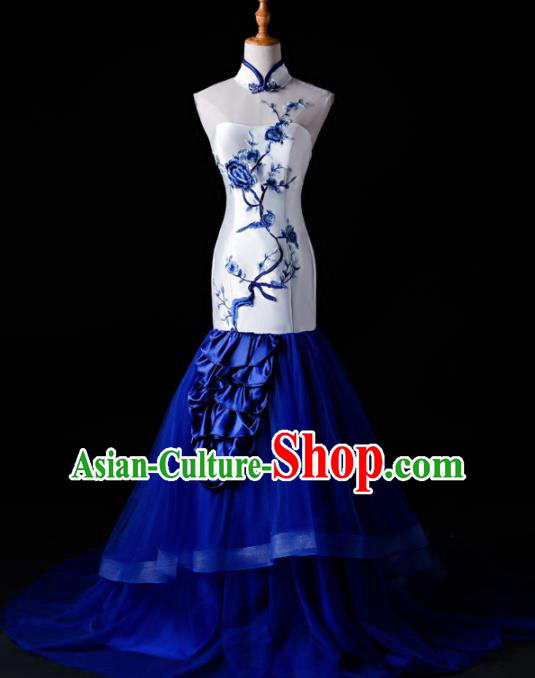 Chinese Traditional National Blue Veil Mermaid Cheongsam Compere Chorus Costume Full Dress for Women