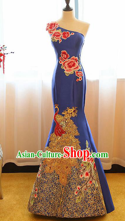 Chinese Traditional Compere Royalblue Full Dress Cheongsam Chorus Costume for Women