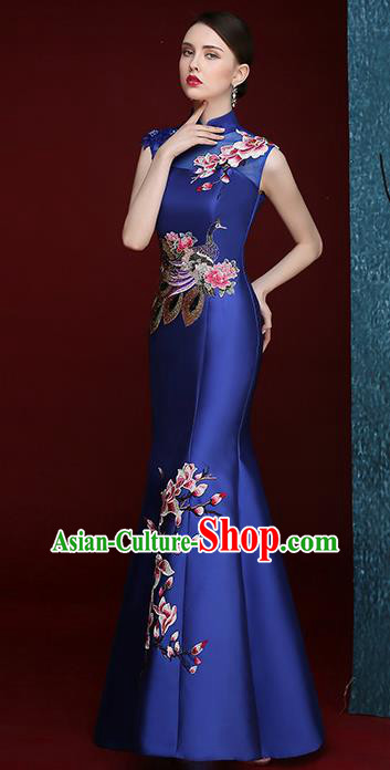 Chinese Traditional Compere Full Dress Embroidered Mangnolia Royalblue Cheongsam Chorus Costume for Women