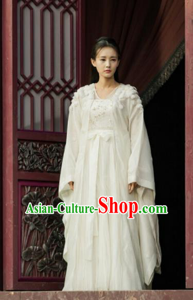 Chinese Ancient Princess White Hanfu Dress Swordswoman Costumes for Women