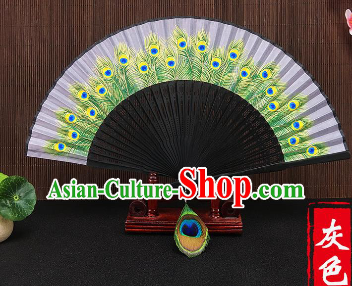 Chinese Traditional Craft Printing Peacock Feather Grey Folding Fans