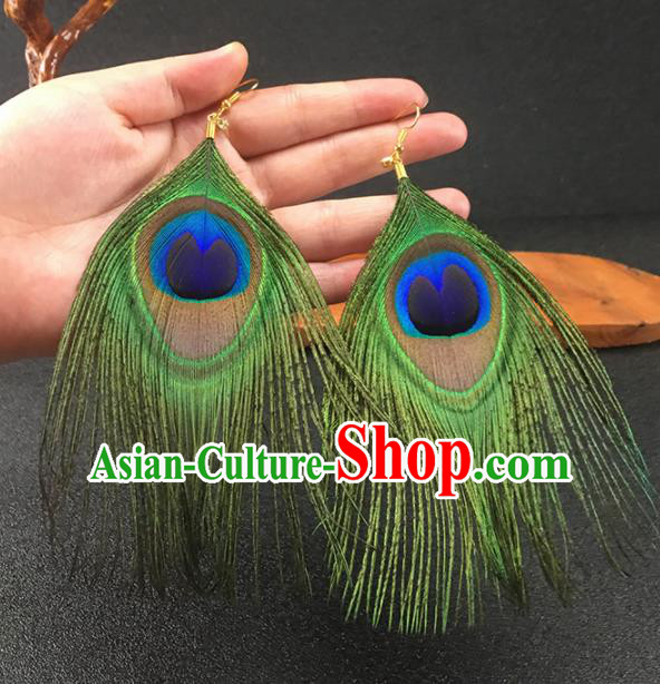Chinese National Craft Traditional Peacock Feather Earrings for Women