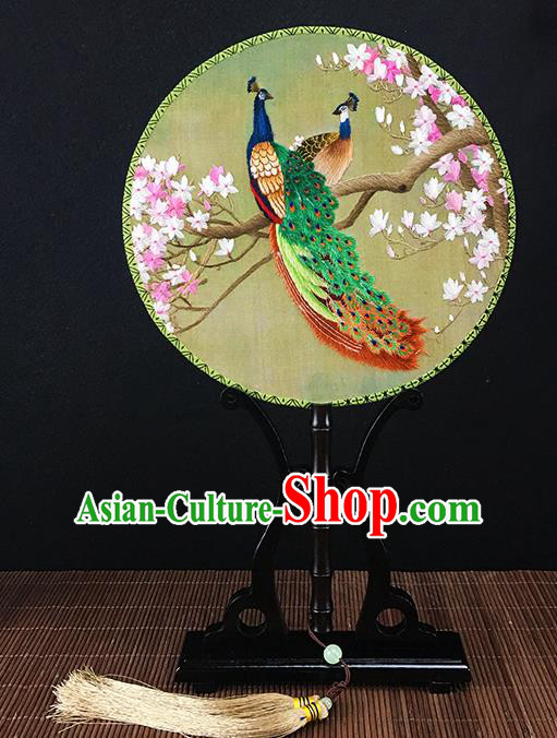 Chinese Traditional Craft Embroidered Peacock Peach Blossom Palace Fans Round Fan for Women