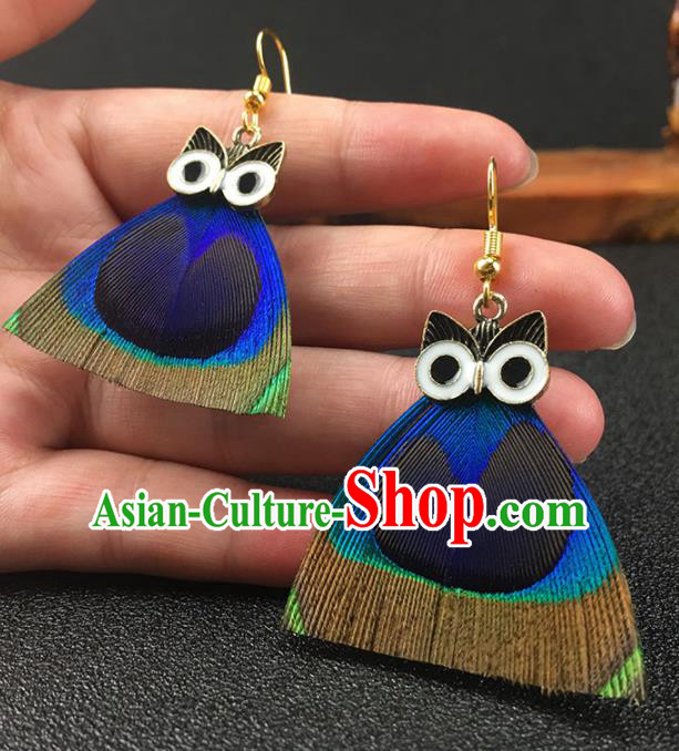 Chinese National Earrings Peacock Feather Owl Earrings for Women