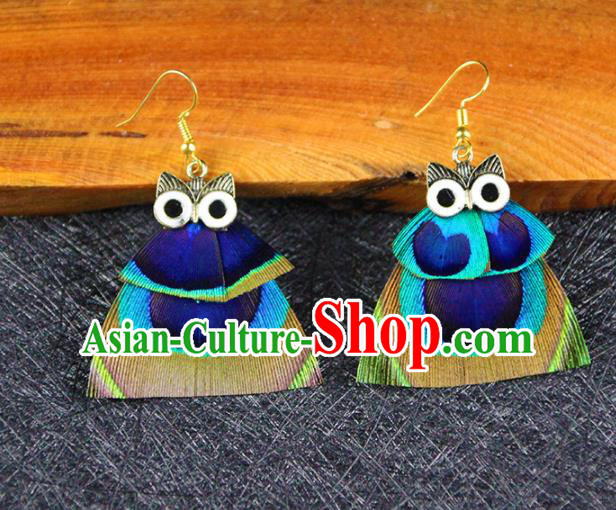 Chinese National Earrings Traditional Feather Owl Earrings for Women