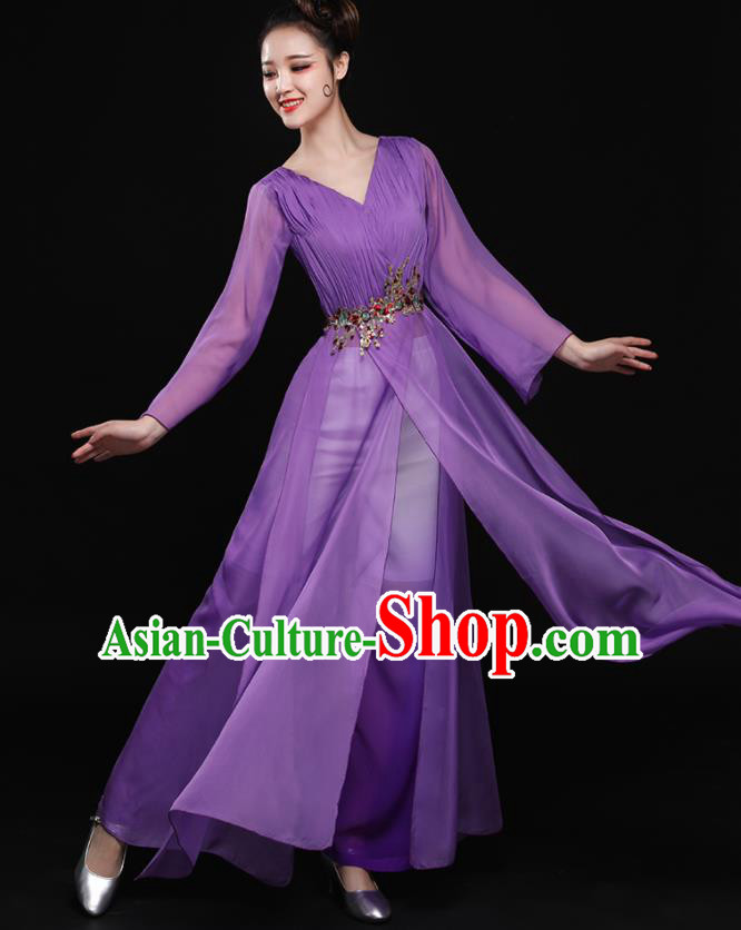 Chinese Traditional Classical Dance Purple Clothing Folk Dance Umbrella Dance Costume for Women