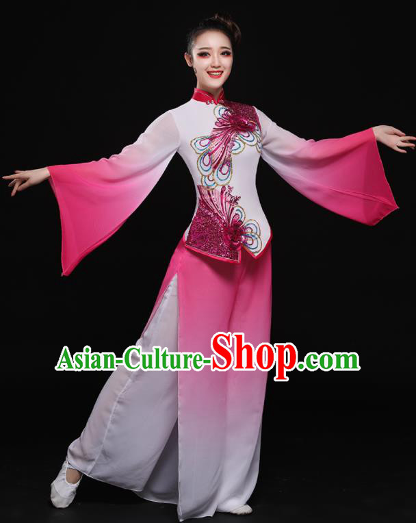 Chinese Traditional Classical Dance Yangko Pink Dress Umbrella Dance Costume for Women