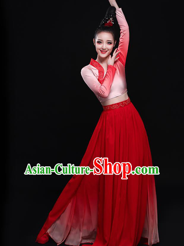Chinese Traditional Classical Dance Fairy Red Dress Umbrella Dance Costume for Women