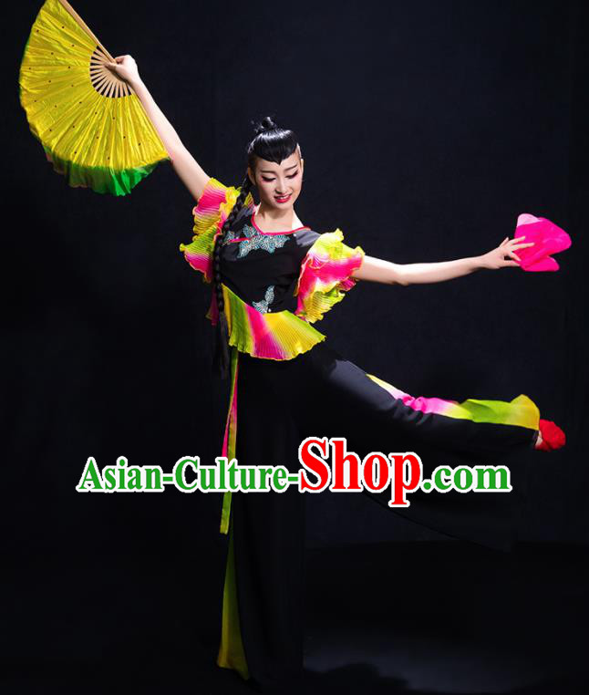 Chinese Traditional Yangko Dance Black Clothing Classical Dance Costume for Women