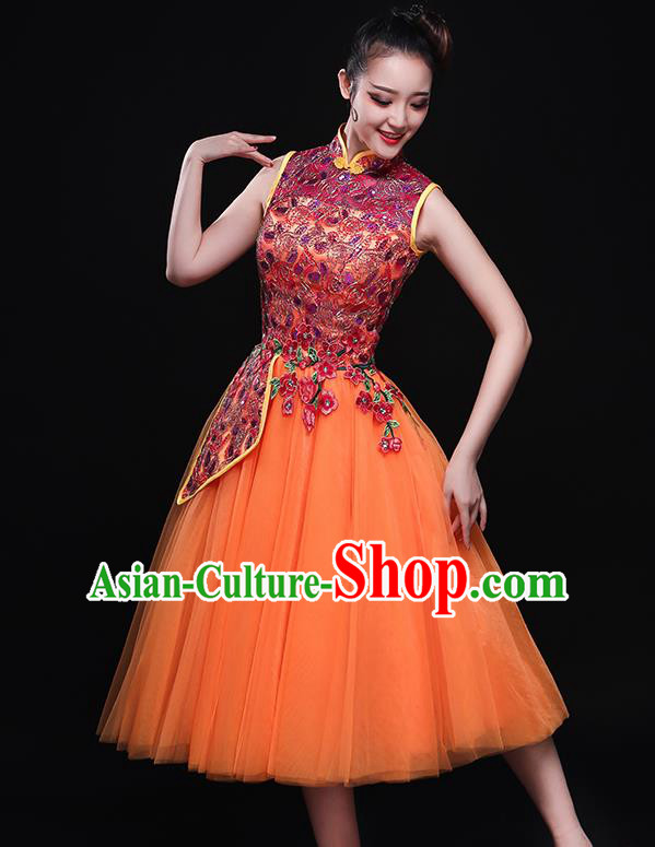 Chinese Traditional Classical Dance Orange Dress Umbrella Dance Costume for Women