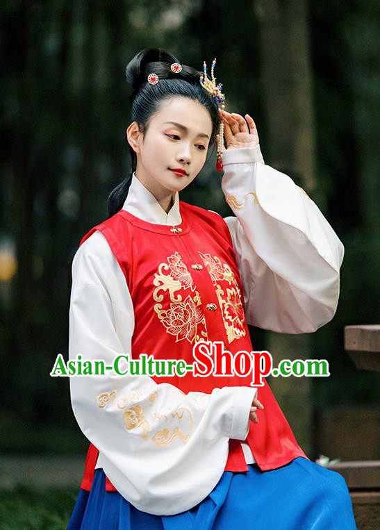 Traditional Chinese Ming Dynasty Costume Embroidered Red Vest for Rich Women