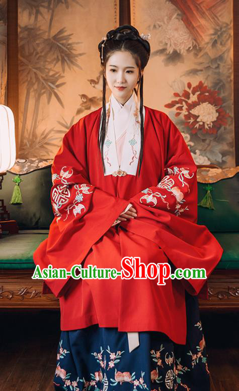 Traditional Chinese Ming Dynasty Costume Embroidered Red Cloak for Rich Women
