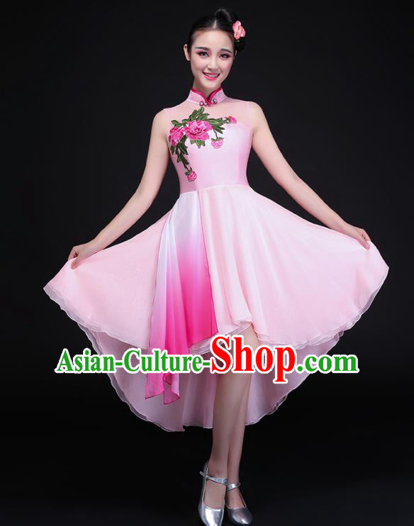 Chinese Traditional Umbrella Dance Pink Dress Classical Dance Chorus Costume for Women