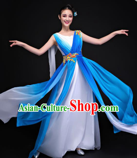 Professional Chorus Costumes Modern Dance Compere Blue Dress for Women