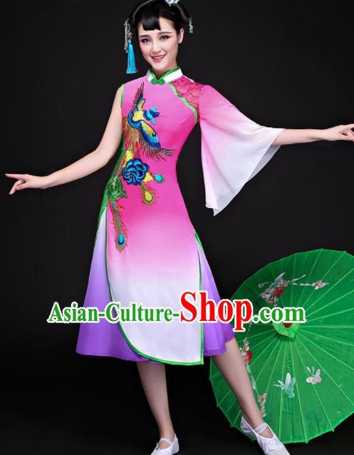 Chinese Traditional Folk Dance Rosy Dress Classical Umbrella Dance Costume for Women