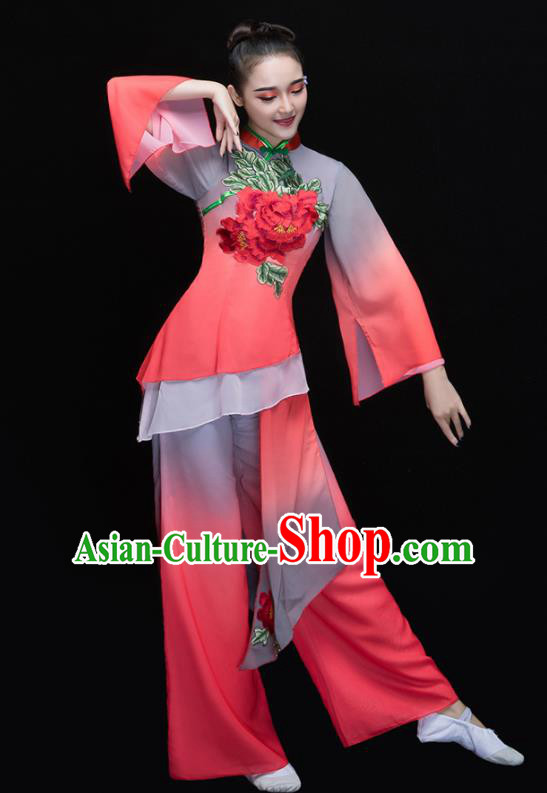 Chinese Traditional Folk Dance Yangko Clothing Classical Umbrella Dance Costume for Women