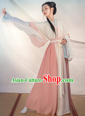 Chinese Traditional Jin Dynasty Princess Costume Ancient Swordswoman Embroidered Hanfu Dress for Women
