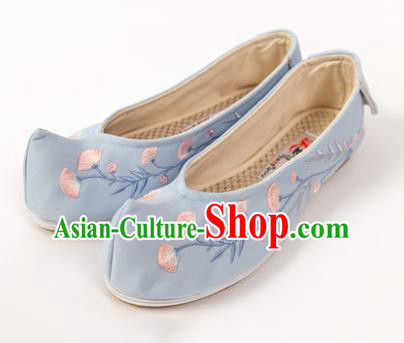 Asian Chinese Ancient Blue Embroidered Shoes Traditional Hanfu Shoes Embroidered Shoes for Women