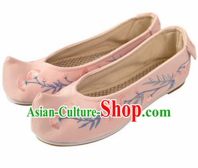 Asian Chinese Ancient Pink Embroidered Shoes Traditional Hanfu Shoes Embroidered Shoes for Women