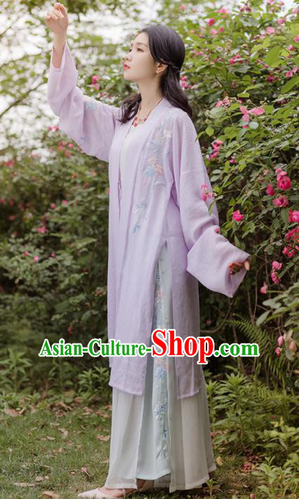 Traditional Chinese Song Dynasty Purple Costumes Ancient Embroidered Hanfu Dress for Women