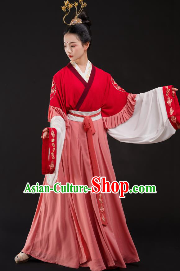 Traditional Chinese Jin Dynasty Princess Costumes Ancient Fairy Embroidered Hanfu Dress for Women