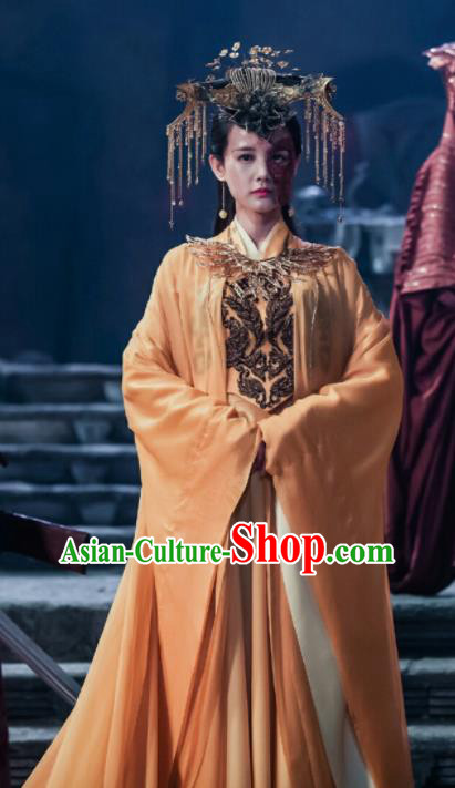 Chinese Ancient Empress Hanfu Dress Queen Embroidered Costumes and Headpiece for Women