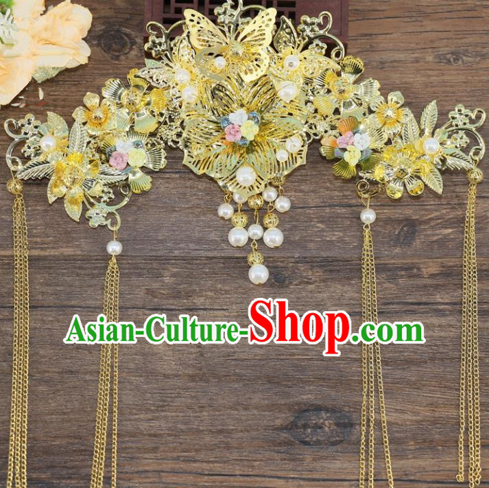 Chinese Traditional Hair Accessories Ancient Hanfu Phoenix Coronet Hairpins for Women
