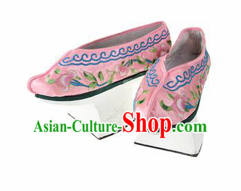 Asian Chinese Ancient Qing Dynasty Palace Saucers Shoes Traditional Pink Embroidered Shoes for Women
