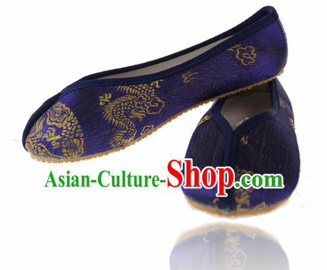 Asian Chinese Ancient Purple Cloth Shoes Traditional Hanfu Shoes for Kids