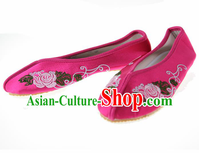 Asian Chinese Ancient Rosy Hanfu Shoes Traditional Embroidered Shoes for Kids