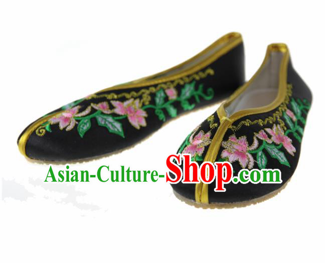 Asian Chinese Ancient Black Satin Hanfu Shoes Traditional Embroidered Shoes for Kids