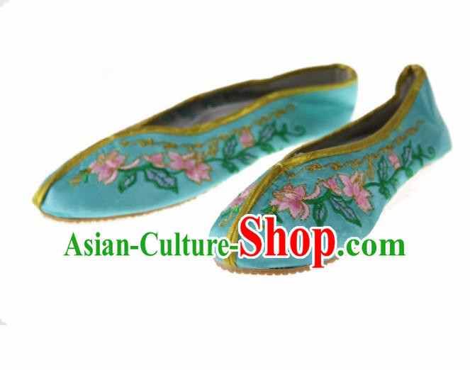 Asian Chinese Ancient Green Satin Hanfu Shoes Traditional Embroidered Shoes for Kids