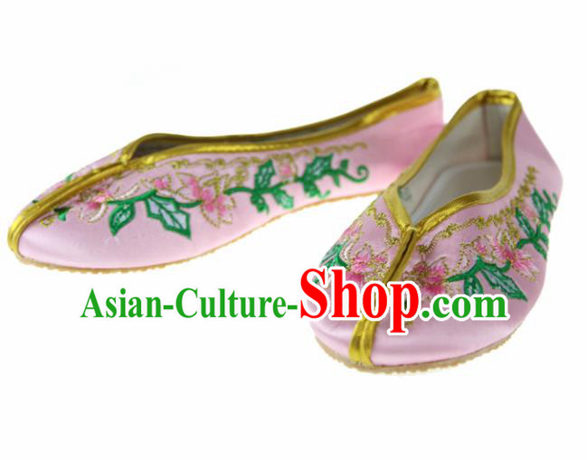 Asian Chinese Ancient Pink Satin Hanfu Shoes Traditional Embroidered Shoes for Kids