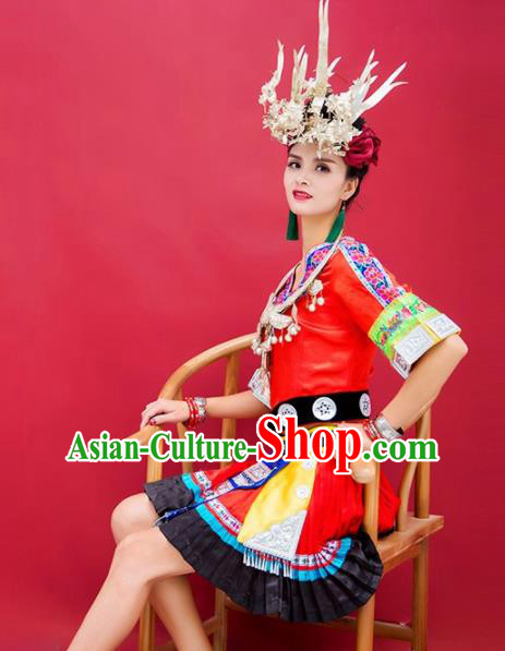 Chinese Traditional Miao Nationality Hmong Pleated Skirt Embroidered Costumes and Headpiece for Women