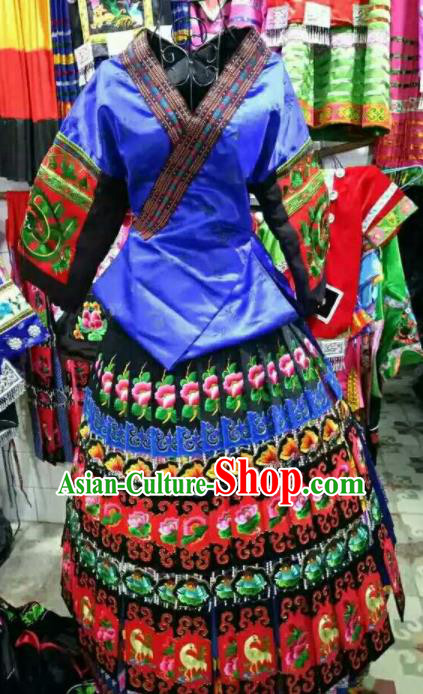 Chinese Traditional Miao Minority Dance Embroidered Blue Costumes for Women