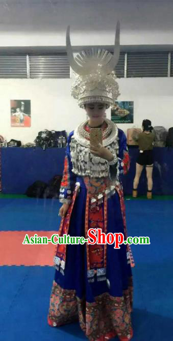 Chinese Traditional Miao Minority Dance Embroidered Blue Costumes and Headwear for Women
