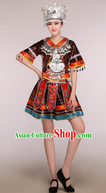 Traditional Chinese Miao Minority Dance Embroidered Costumes and Headwear for Women