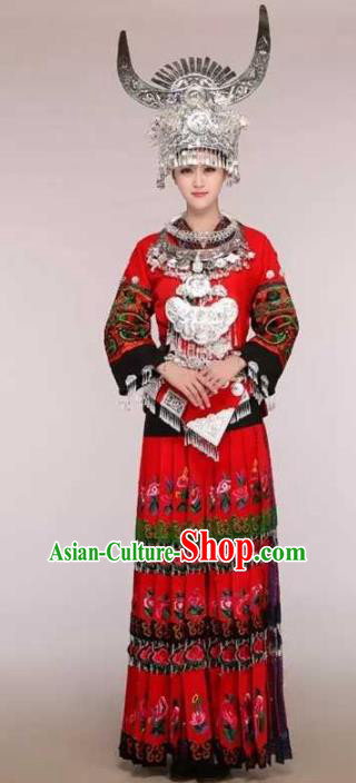 Traditional Chinese Miao Minority Embroidered Red Costumes and Headwear for Women
