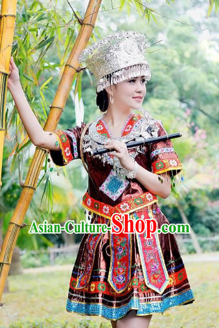 Traditional Chinese Miao Minority Embroidered Costumes Short Dress and Headwear for Women