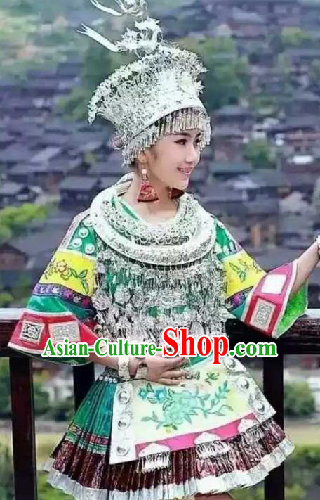 Traditional Chinese Miao Minority Embroidered Costumes Short Green Dress and Headwear for Women