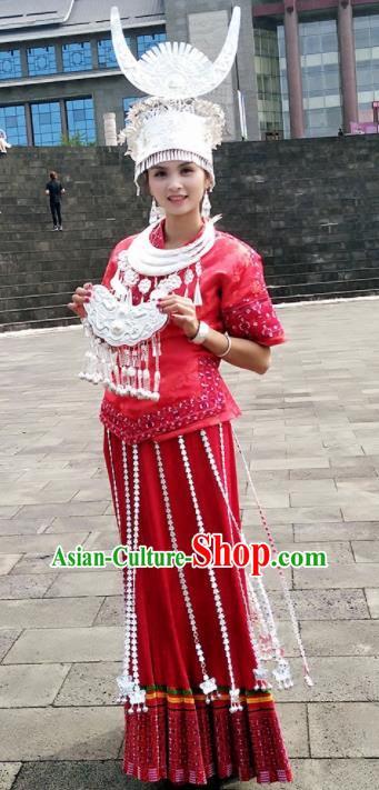 Traditional Chinese Miao Minority Costumes Embroidered Red Dress and Headwear for Women
