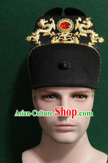 Chinese Traditional Swordsman Hair Accessories Ancient Ming Dynasty Emperor Hat for Men