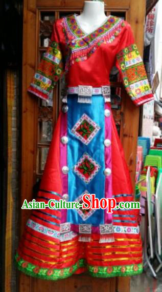 Traditional Chinese Miao Minority Wedding Costumes Hmong Embroidered Dress for Women