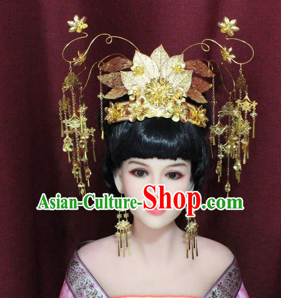 Chinese Ancient Palace Hair Accessories Handmade Tang Dynasty Princess Golden Phoenix Coronet Hairpins for Women