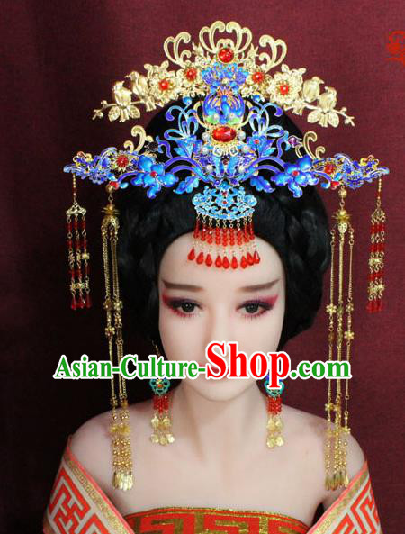Chinese Ancient Queen Blueing Hair Accessories Tang Dynasty Empress Phoenix Coronet Hairpins for Women