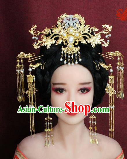 Chinese Ancient Imperial Consort Hair Accessories Tang Dynasty Empress Phoenix Coronet Hairpins for Women