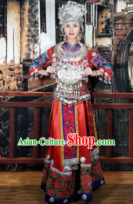Chinese Traditional Miao Minority Dance Embroidered Costumes and Jewelry Accessories Complete Set for Women