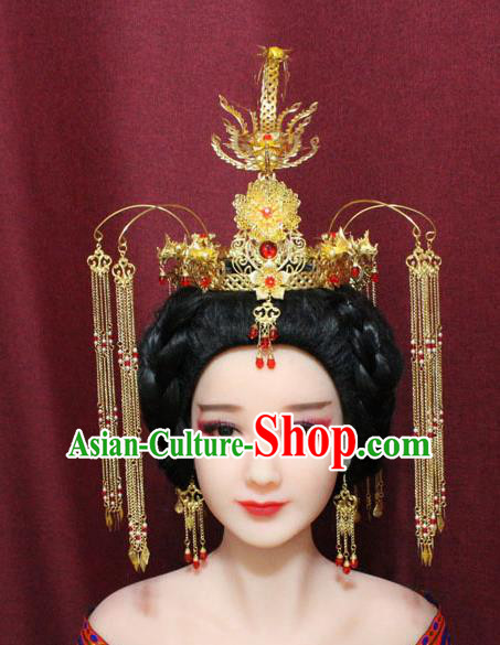 Chinese Traditional Handmade Hair Accessories Ancient Ming Dynasty Queen Golden Phoenix Coronet Hairpins for Women