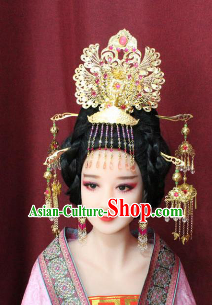 Chinese Traditional Handmade Hair Accessories Ancient Queen Phoenix Coronet Hairpins for Women