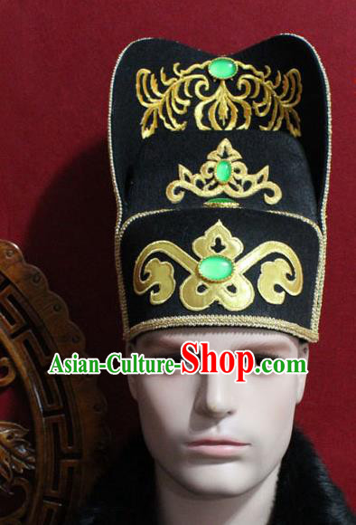 Chinese Traditional Royal Highness Hair Accessories Ancient Tang Dynasty Chancellor Black Hat for Men